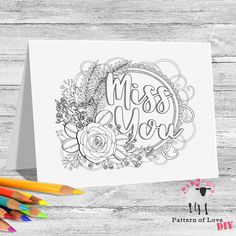 Miss You Coloring Printable Note Cards | Etsy Jw Gifts, Colored Paper, Coloring Sheets, Miss You, Note Cards, Card Stock, Bullet Journal, Printables, Notes