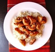 Bourbon Chicken if it tastes anything like LeeAnn Chin bourbon chicken I am on board ;-) I can make it with out all that fat I hate .