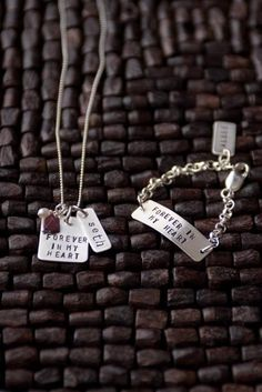 Love this! Adoption gift from an adoptive mother -- necklace is for birth mother and bracelet goes with baby.