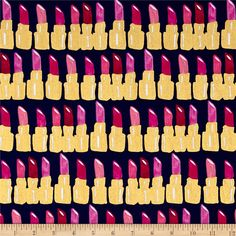 Kaufman Bouffants & Broken Hearts Metallic Lipstick Fuchsia from @fabricdotcom  Designed by Kendra Dandy for Kaufman Fabrics,  this cotton print is perfect for quilting, apparel and home decor accents. Colors include blue, shades of pink and accents of metallic gold.