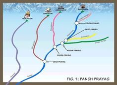 Pilgrimage Tour to Panch Prayag in Uttarakhand. History relates to the penance of King Bhagirath who brought holy river Ganga to earth. World Geography Map, Geography Lessons, Teaching Geography, Physical Geography, India World Map, India Map, Rishikesh, Himalayas Map, Indian River Map