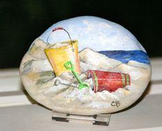 Sand Pails  Painted Stone  Beach Art  Beach Stone by BeachCanvas, $40.00