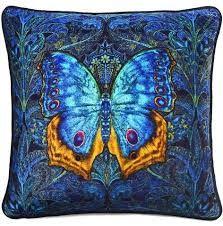 blue silk velvet cushions - Google Search Art Nouveau, Velvet Cushions, Cotton Velvet, Cushion Pads, Gorgeous Fabrics, Blue Butterfly, Unique Image, Pigment Ink, Blue Backgrounds