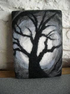 art abstract tree black and white monotone by SueForeyfibreart, $24.00
