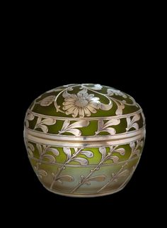 French glass silver overlay covered jar.
