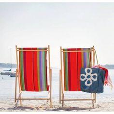 strandstoel stof gestreepte acryl outdoor stof ara van kleurmeester.nl #strandstoel #strand #tuinstoel #tuin #doehetzelf