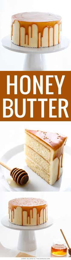 """""""Honey Butter Cake: Honey cake with honey cream cheese frosting topped with a honey butterscotch glaze. Layer Cake Recipes, Cupcake Recipes, Cupcake Cakes, Dessert Recipes, Layer Cakes, Honey Recipes, Baking Recipes, Sweet Recipes, Honey Butter"""