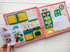 This Dollhouse Quiet book is for girls 3+ years. Size is 9*9inch (22*22cm), 4 plots (8 pages), more than 60 removable pieces. Interesting sensorial book. Also velcro, buttons, plastic mirror and wooden parts. The girl made of felt could have any color. You also choose a pet: horse, dog,