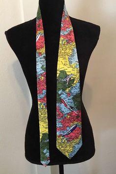 Men s Vintage Silk Necktie World Map Pilot Jet Setter Airplane Silk  Handmade  NeckTie Men s Vintage fdb49ff047d