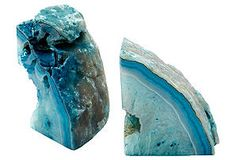 One Kings Lane - The Feminine Office - Pair of Stone Bookends, Teal