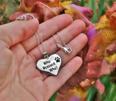 Charm Necklace - .925 Sterling Silver Chain - Rescued Pendant - Pet Dog Cat Paw Print Heart Gift