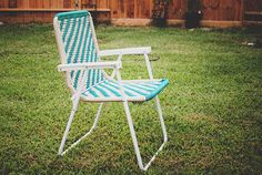 Webbing lawn chairs to Macrame lawn chair (  http://www.kingskountry.com/how-to-make-a-macrame-lawn-chair.html )