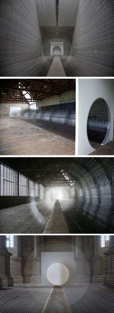 """Installation """"Tube"""" by Zilvinas Kempinas made out of VHS tape Land Art, Bts Art, Instalation Art, New Media Art, Artistic Installation, Art Plastique, Light Art, Public Art, Medium Art"""