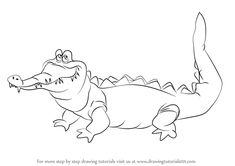 Step by Step How to Draw The Crocodile from Peter Pan : DrawingTutorials101.com