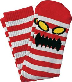 Toy Machine Monster Stripe Crew Socks WhiteRed Single Pair -- To view further for this item, visit the image link. This is an Amazon Affiliate links.