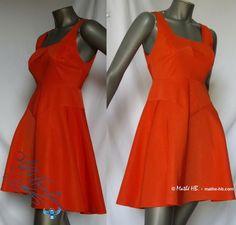 Kleider - Kleid Trapez rot-Koralle, Retro Abend Fest Neujahr - ein Designerstück von Mathe-HB bei DaWanda