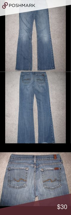 """7 For All Mankind Distressed Jeans Distressed Bootcut jeans. In very good condition. Some fraying on bottoms. 33"""" inseam. Ask any questions! 📦Same/ Next Day Shipping 🚫Paypal/ Trades ✅Bundles 🚫Smoke Free 7 For All Mankind Jeans Boot Cut"""