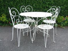 french bistro kitchen table and chairs | Vintage French Wrought Iron Garden / Patio / Café Table And 4 Chairs ...