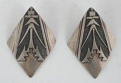 Vintage Native American Navajo Sterling silver Corn motif earrings Tommy Singer - http://elegant.designerjewelrygalleria.com/tommy-singer/vintage-native-american-navajo-sterling-silver-corn-motif-earrings-tommy-singer/