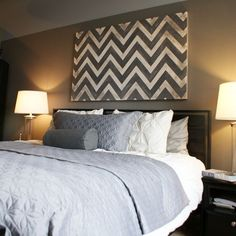 chevron + canvas ...can you tell I like chevron! I would love one this large above the bed in the living room