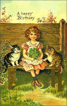 Vintage Girl with Kittens Postcard Birthday Postcards, Vintage Birthday Cards, Vintage Greeting Cards, Vintage Valentines, Vintage Postcards, Happpy Birthday, Cat Birthday, Vintage Pictures, Vintage Images