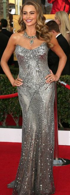 Who made Sofía Vergara's jewelry and silver sequin strapless gown that she wore in Los Angeles on January 18, 2013? Dress – Donna Karan Atelier  Jewelry – Amrapali