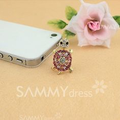 $2.70 Sweet Rhinestone Decorated Tortoise Shape Cellphone Dustproof Plug For Women