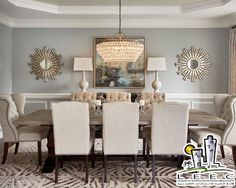 Dining Room Mirror Decorating Ideas Transitional With Living Wingback Chairs Recessed Ceiling