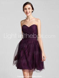 Sheath/Column Sweetheart Knee-length Tulle Bridesmaid Dress - USD $ 79.99