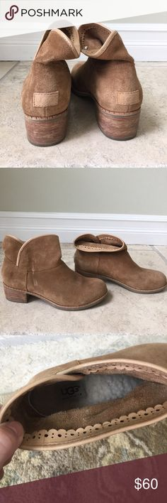 UGG ankle boots with heel Genuine UGG ankle boots with wooden heel. Size 7.5. Sheepskin interior. Tan suede. Worn a few times. Great condition. UGG Shoes Ankle Boots & Booties
