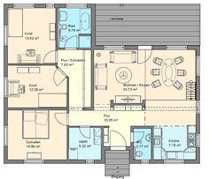 Winkelbungalow mit Hems und Satteldach - Dänisches Bungalow - Haus Grundriss