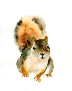watercolor squirrel tattoo - Google Search