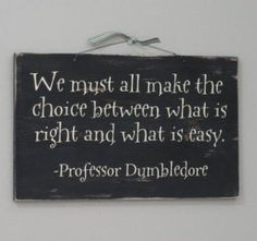 """we must all make the choice between what is right and what is easy."" Albus dumbledore. This one really moves me"