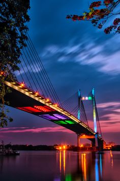Vidyasagar Setu Bridge,The Hooghly river, beautiful  sky, Kolkata, India