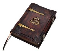Handmade brown leather journal Triquetra  Medieval by dragosh
