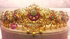 Gold Vadanam Desings, Gold Antique Vadanam, Gold Vadanam with Rubies