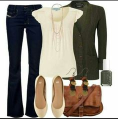 Skip the bag and earrings but love the top and shoes for work. Jeans and sweater are cute too.