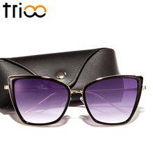 a889941af TRIOO Alta Quailty Olhos de Gato Mulheres Óculos De Sol Caixa de Grandes  Dimensões Lente Espelho