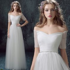 2015 New Fashion Wedding Dress Sexy Off The Shoulder V Neck A Line Style Waist With Beading Bride Gown For Weddings HoozGee 7592-in Wedding Dresses from Weddings & Events on Aliexpress.com | Alibaba Group