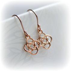 Rose Gold Celtic Earrings, Irish Love Knot Earrings, Rose Gold Earrings, Rose Gold Vermeil Earrings, Rose Gold Dangle Earrings, Gift for Her by Blissaria on Etsy https://www.etsy.com/listing/293207481/rose-gold-celtic-earrings-irish-love