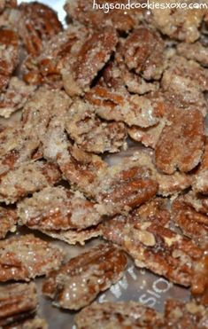 Candied Pecans – Hugs and Cookies XOXO Candied Pecans Pecan Recipes, Candy Recipes, Sweet Recipes, Holiday Recipes, Dessert Recipes, Cooking Recipes, Fudge Recipes, Holiday Snacks, Christmas Recipes