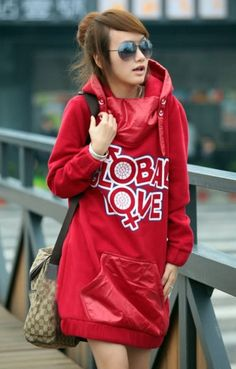 New Arrival Letter Printing Full Sleeve Pocket Long Women Hoodie on Buytrends.com, only price $32.42