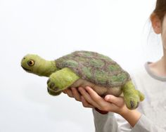 Hamlet the Giant Tortoise Turtle TOY - Foot Long Wool Pet - Needle Felted Animal - Eco Friendly Kids Toy - Green Woodland Reptile on Etsy, $50.00