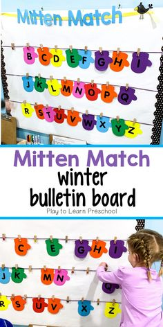 This bulletin board helps students to master matching, letter or number identification, and early writing skills. This bulletin board is not only visually appealing, but it provides a hands on experie Winter Bulletin Boards, Preschool Bulletin Boards, Preschool Literacy, Preschool Lessons, Kindergarten, Preschool Art, Pre K Activities, Alphabet Activities, Classroom Activities