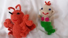 Little Mermaid and Lobster friend, hand made duo, approx. 7 inches each. The Little Mermaid, Hands, Patterns, Friends, Awesome, Creative, Handmade, Etsy, Vintage