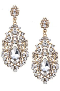 """These gold and crystal chandelier earrings add a serious sparkle to proms, bridesmaids, red carpet and special occasions. - Drop Approx. 2.6"""" - Post back - Gold & European Crystal - Ships 1-4 Business"""