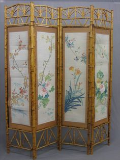 victorian dressing screens | Lot No 52 A 19th/20th Century Oriental bamboo 4 fold dressing screen