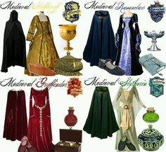 Medieval Girls Hogwarts outfits ♥ these! I am Ravenclaw! But I am not sure how I feel about the Ravenclaw dress, seem a bit uncomfortable but the Slytherin one looks awesome Estilo Harry Potter, Harry Potter Kostüm, Harry Potter Dress, Fans D'harry Potter, Harry Potter Cosplay, Harry Potter Outfits, Harry Potter Halloween Costumes, Hogwarts Outfit, Hogwarts Costume
