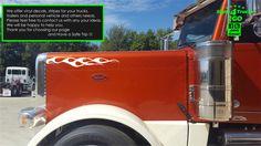 2pcs sF-4 FLAME Decals Classic Hood 4 Semi Truck Big Rigs Peterbilt KW Graphic #Oracal