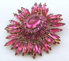 Gorgeous SCHREINER Ruffle Pink Rhinestones Pink Stone Brooch Pin Pendant UNsign